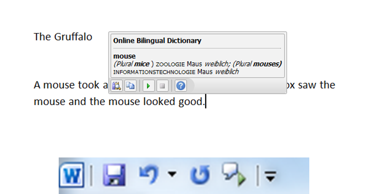 Microsoft Word tools - translate and speakl text