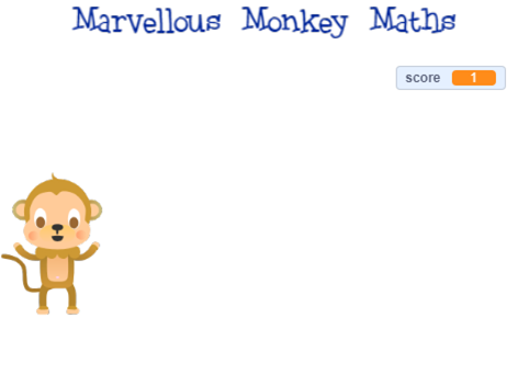 Marvellous Monkey Maths scratch quiz