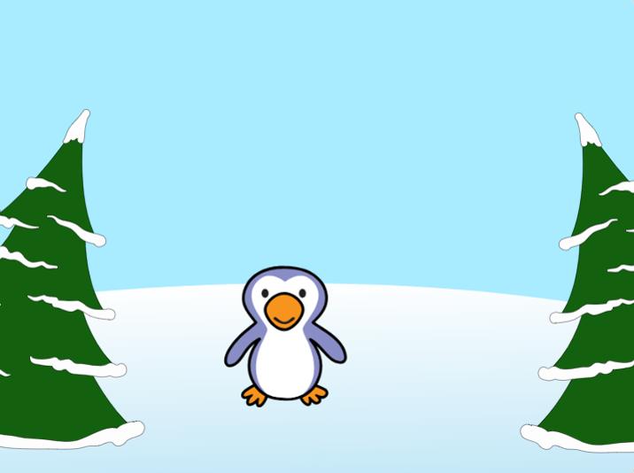 Penguin between two trees